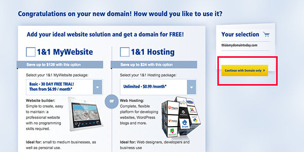 1and1 how to use domain