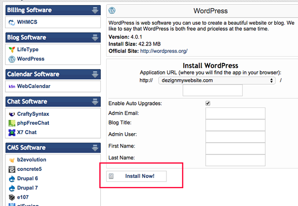 hostgator wordpress install 5